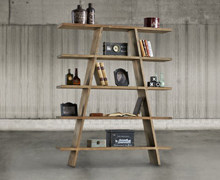 Bookcase with 5 old pine wood shelves | Decord.gr