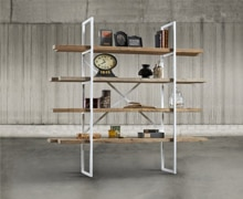 Bookcase with metalic structure & 4 shelves, old pine wood | Decord.gr
