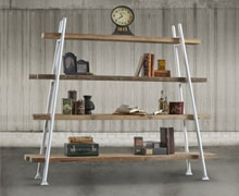 Bookcase with metallic structure, white, 4 shelves, old pine wood | 164x250x62 | Decord.gr