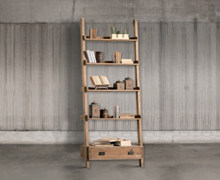 Bookcase rested on wall with 4 shelves and 1 drawer, old pine wood | Decord.gr