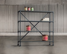 Bookcase with wheels, metallic structure with 4 shelves made of old wood | Decord.gr