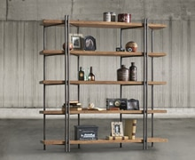Two-faces bookcase with metallic structure and 5 wooden shelves | Decord.gr