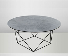 Cement Top Iron Black Legs Coffee Table D90 H40 | Decord.gr