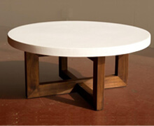 Coffee Table White Cement Wooden Base | Decord.gr