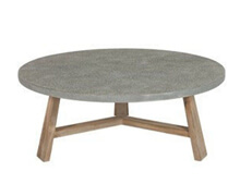 Concrcete Round Coffee Table Square Wooden Legs | Decord.gr