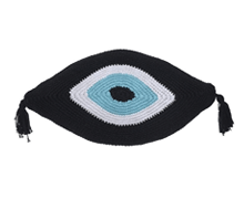 Evil Eye Knitted Cushion Black 65x35 | Decord.gr