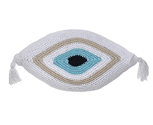 Evil Eye Knitted Cushion White 65x35 | Decord.gr
