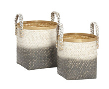 Basket, Bamboo, Waterhyacinth, White/Grey | Decord.gr