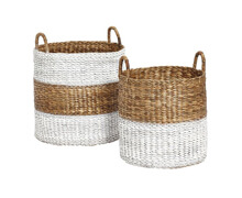 Basket with handle, Round, Waterhyacinth, Nature/White | Decord.gr