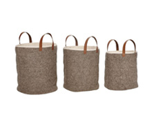 Basket with Leather Handle, Wool, Grey | Decord.gr