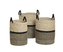 Basket, Round, Seagrass, Nature/Black | Decord.gr