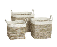 Basket with white edge, Square, Seagrass | Decord.gr