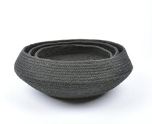 Black Rattan Bowls Set of 3 | Decord.gr
