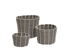 Set of Three Baskets Cotton Grey | Decord.gr