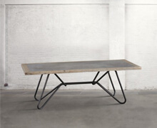 Table with metal structure, old wood with concrete insert | 78x220x90 | Decord.gr