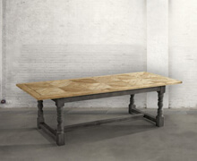 Table old pine wood with black base | 78x250x100 | Decord.gr