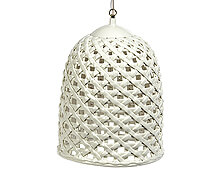 Woven Hanging Lamp - White Glazed Porcelain | Decord.gr