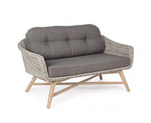 Wicker Outdoor Sofa with Wooden Structure | Decord.gr