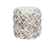 Pouf Knitted Wool Grey White | Decord.gr