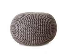 Pouf Round Dark Grey Cotton | Decord.gr