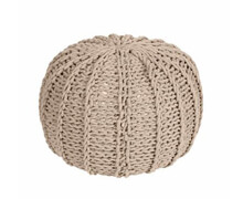 Pouf round Knitted Cotton Beige | Decord.gr