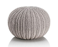 Pouf round Knitted Cotton Grey | Decord.gr