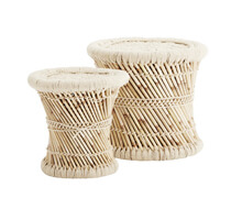 Set of 2 Stools Reed and Rope | Decord.gr