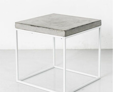 Side Table Concrete Top with White Steel Base | Decord.gr