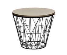 Side Table Metal Black Matt Wood Nat | Decord.gr