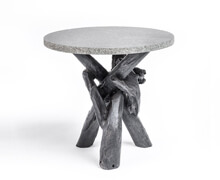 Side Table Teak Wood Concrete Top | Decord.gr