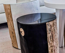 Side Table Tree Trunk PVC, Top Leather | Decord.gr