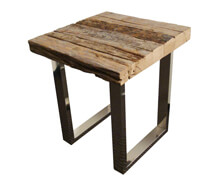 Side Table Square 45x45x50 cm Wood Steel | Decord.gr