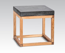 Terrazzo Side Table Teak Base | Decord.gr