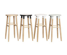 Wooden Bar Stools with Colored Seats | Decord.gr